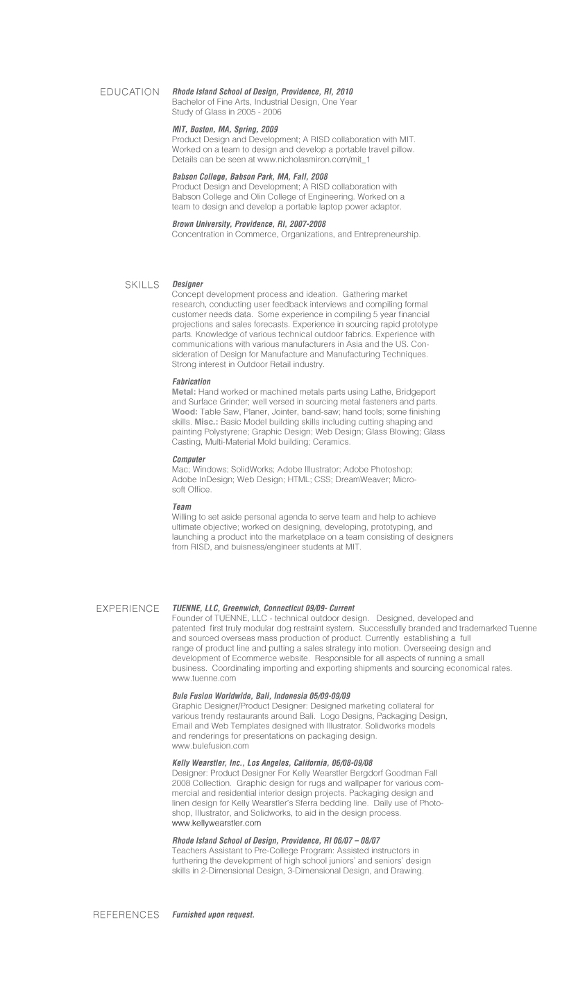 Industrial design manager resume
